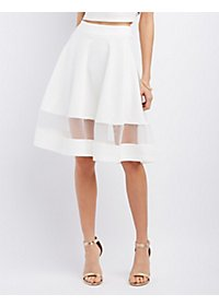 Organza Panel Full Midi Skirt