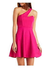 One-Shoulder Asymmetrical Skater Dress