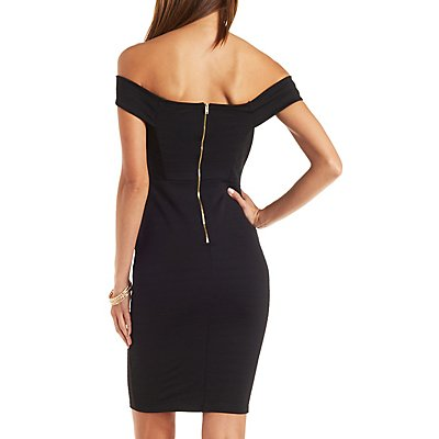 Off-the-Shoulder Textured Bodycon Dress