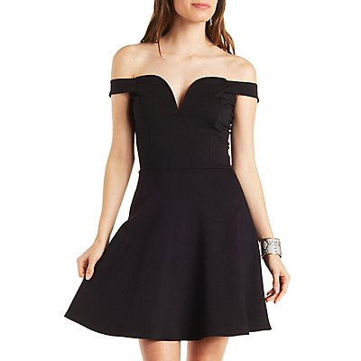 Notched Sweetheart Skater Dress
