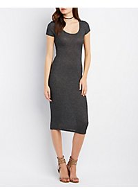 Ribbed Cap Sleeve Bodycon Dress
