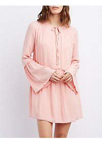 Tie-Front Ruffle Shift Dress
