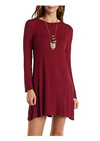 Ribbed Long Sleeve Shift Dress