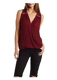Zipper-Trim Wrap Front Top