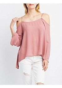 Chain Strap Cold Shoulder Top