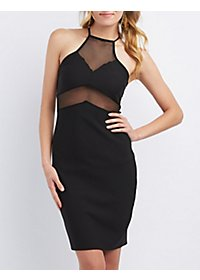 Mesh Bib Neck Bodycon Dress