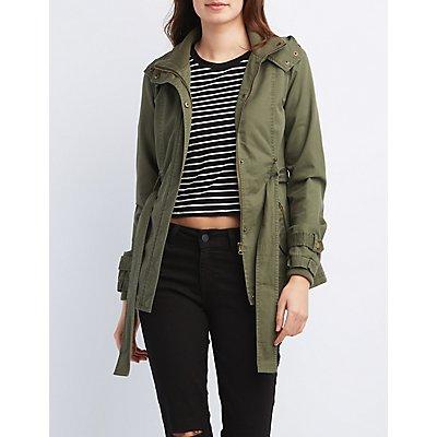 Belted Zip-Up Anorak Jacket