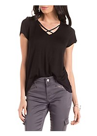 Short Sleeve Strappy V-Neck Tee