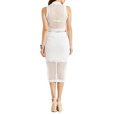 Rehab Sheer Striped Crop Top & Skirt Hook-Up