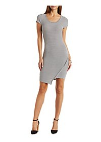 Ribbed Asymmetrical Bodycon Dress