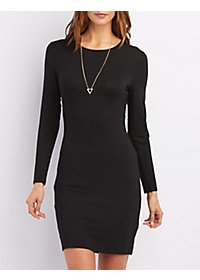 Cut-Out Long Sleeve Bodycon Dress