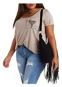 Plus Size Elephant Pocket Tee