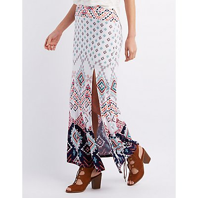 Border Print Slit Maxi Skirt