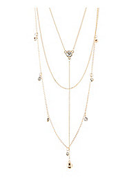 Layered Diamante Y-Chain Necklace