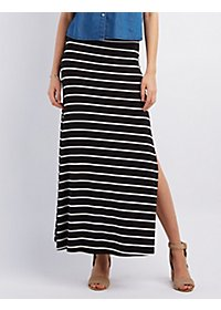 Striped Slit Maxi Skirt