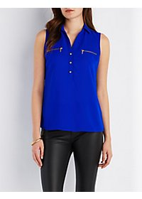 Zipper-Trim Pullover Top