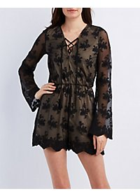 Embroidered Mesh Lace-Up Romper