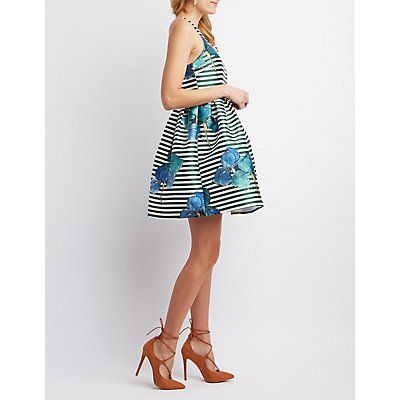 The Vintage Shop Striped Floral Skater Dress