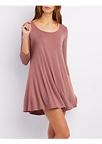 Scoop Neck Seamed Swing Dress