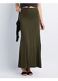 Double Side Slit Maxi Skirt