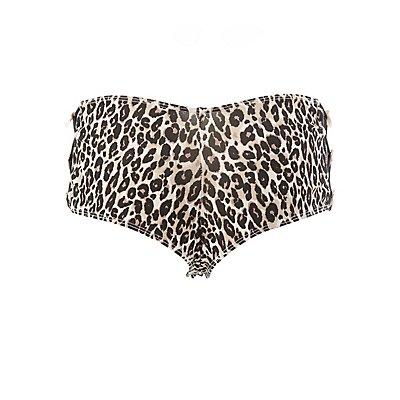 Caged Leopard Print Boyshort Panties