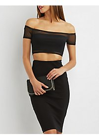 Off-the-Shoulder Mesh Crop Top