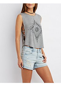 Caged Sparkly Tank Top
