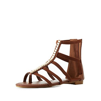 Metal Trim Gladiator Thong Sandals