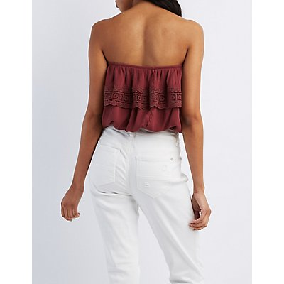 Crochet-Trim Flounce Strapless Top