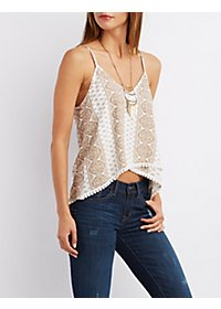 Crochet-Trim Swing Tank Top