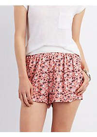 Crochet-Waist Printed Shorts