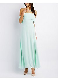 Draped Off-the-Shoulder Maxi Dress