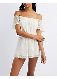Off-the-Shoulder Floral Embroidered Romper
