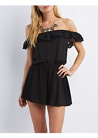 Eyelet Ruffle Off-the-Shoulder Romper