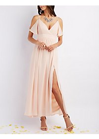 Flutter Sleeve Surplice Maxi Dress