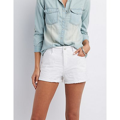 Refuge Eyelet High-Rise Shorts