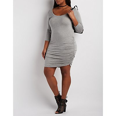 Plus Size Ruched Side Bodycon Dress