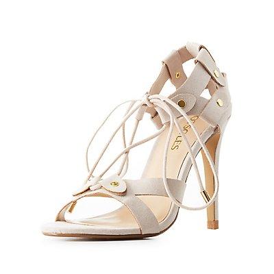 Studded Lace-Up Dress Sandals