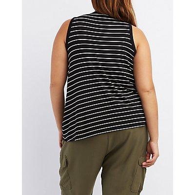 Plus Size Sleeveless Ringer Crop Top