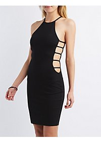 Bib Neck Caged Bodycon Dress