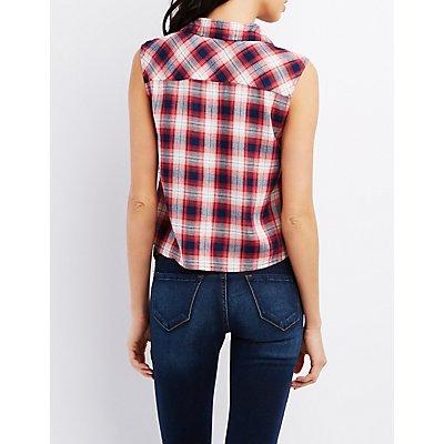 Sleeveless Plaid Button-Up Shirt