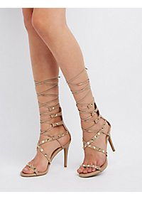 Studded Lace-Up Dress Sandals