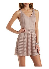 Shadow Stripe Skater Dress