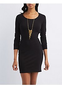 Caged-Back Long Sleeve Bodycon Dress