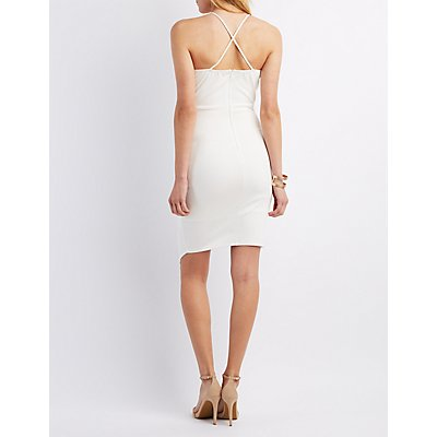 Caged Side Pleat Bodycon Dress