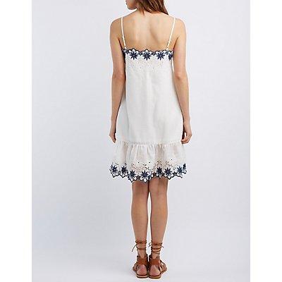 Floral Eyelet Ruffle Dress