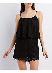 Lace Flutter Top Romper