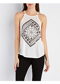Bib Neck Graphic Tank Top