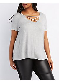 Plus Size Strappy Scoop Neck Tee