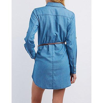 Belted Chambray Shirt Dress